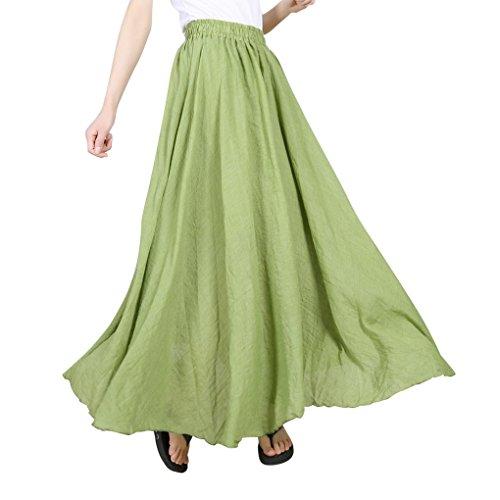 Evedaily Femme Jupe Longue Taille Haute Pliss Taille lastique en Coton Lin Long Skirt Matcha Vert
