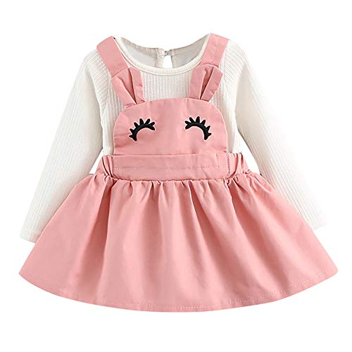 Kehen Infant Toddler Girls 2pcs Cute Rabbit Mini Dress Long Sleeve Bandage Above Knee Dress Ball Gown Baby Easter Gift (12-18 Months, 3 Pink) ()