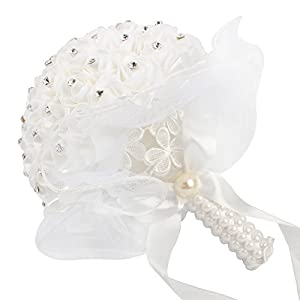 AerWo Bridal Bouquet - White Wedding Flower Bouquet Handmade Rose Rhinestone Pearl Bridal Bouquet Artificial Silk Flower with Lace - Being The Most Beautiful Bride 4