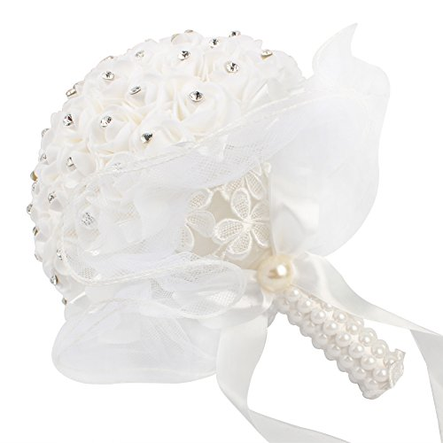 AerWo Bridal Bouquets - White Wedding Flower Bouquet Handmade Rose Rhinestone Pearl Bridal Bouquet Artificial Silk Flower with Lace - Being The Most Beautiful Bride