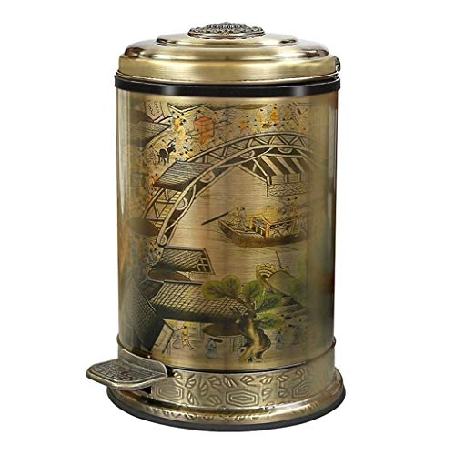 ZWW electronic Ashbin Wrought Iron Embossed Round Trash Can, American Country Style Pedal-Type Trash Can, Villa Garden Cafe Gardening Decorations Garbage ()