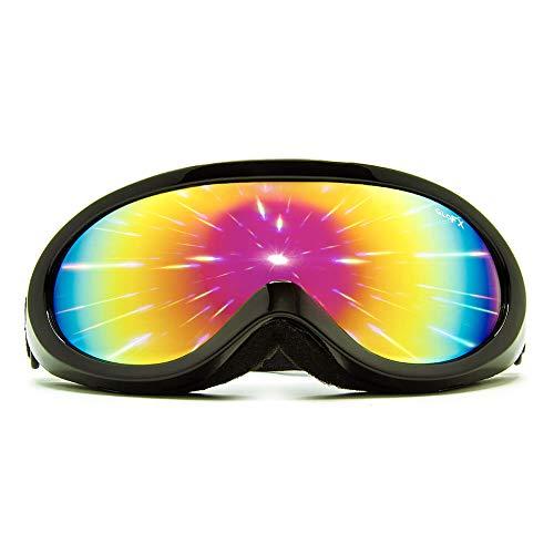GloFX Black Diffraction Ski Goggles - Rainbow Gradient Rave Prism Kaleidoscope Lightshow Lenses