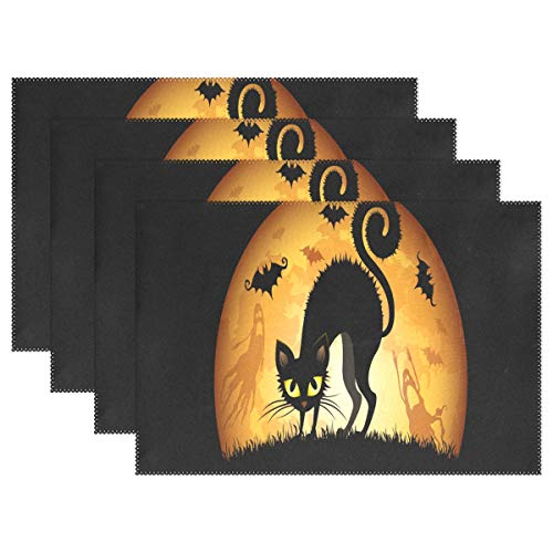 NMCEO Place Mats Halloween Cartoon Cat Wallpaper Personalized Table Mats for Kitchen Dinner Table Washable PVC Non-Slip Insulation Set of 6 ()