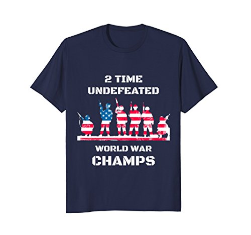 Mens USA 2 Time Undefeated World War Champs Patriotic T-Shirt XL Navy