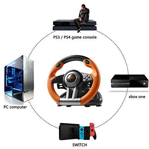 180 Degree Dual-Motor Vibration Driving Gaming Racing Wheel with Responsive Pedals for PC/PS3/PS4/XBOX ONE/Switch PXN-V3II (Orange) 41KeQGSSF6L