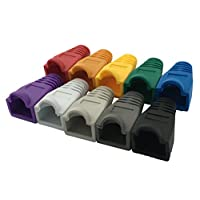 Accessbuy 100 Pcs Mixed Color CAT5E CAT6 RJ45 Ethernet Network Cable Strain Relief Boots Cable Connector Plug Cover