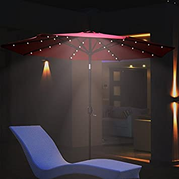 Amazon.com : BenefitUSA U021 270 BEG Solar 40 LED Lights Patio Offset  Outdoor Sunshade Hanging Market, 9u0027, Beige : Patio, Lawn U0026 Garden
