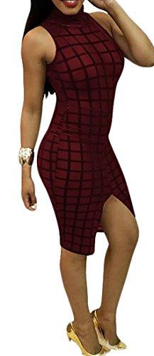 Dress Plaid Jaycargogo Red Sleeveless Midi Women's Wine Party Bodycon Club OfO0nU