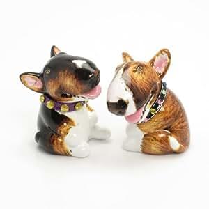 Bull Terrier Dog Ceramic Figurine Salt Pepper Shaker B00014 Ceramic Handmade Dog Lover Gift Collectible Home Decor Art and Crafts