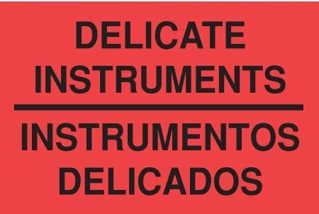 Bilingual Shipping Labels Delicate Instruments/Instrumentos Delicados Legend Paper Adhesive Back - 16U918 (Pack of 2)