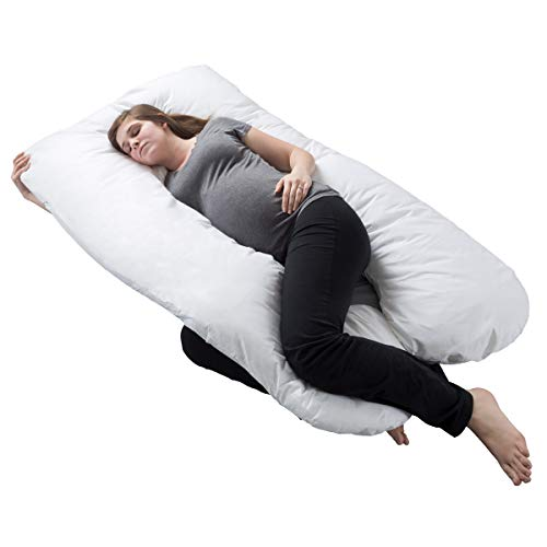 Pregnancy Pillow, filled Body Maternity Pillow along with Contoured U-Shape by Bluestone, Back Support