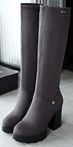 Easemax Women's Trendy Zip Up Round Toe High Chunky Heel Platform Knee High Booties Grey bwHG8
