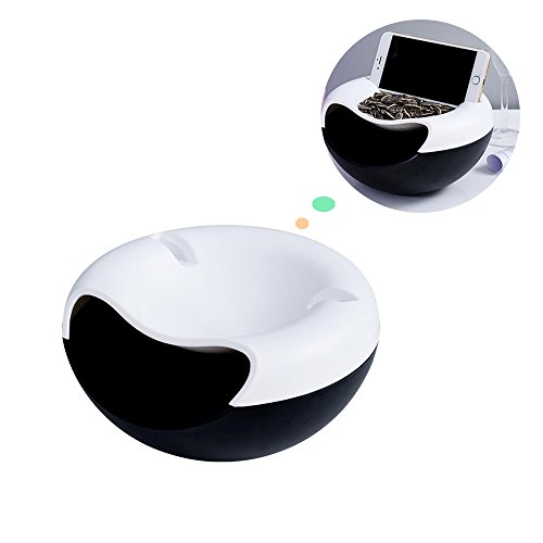[Double Deck Fruit Plate, Sunmall Candy Dish Snack Storage Box Food Box Holder With Mobile Phone Holder (White+Black)] (Christmas Sleigh Candy Dish)