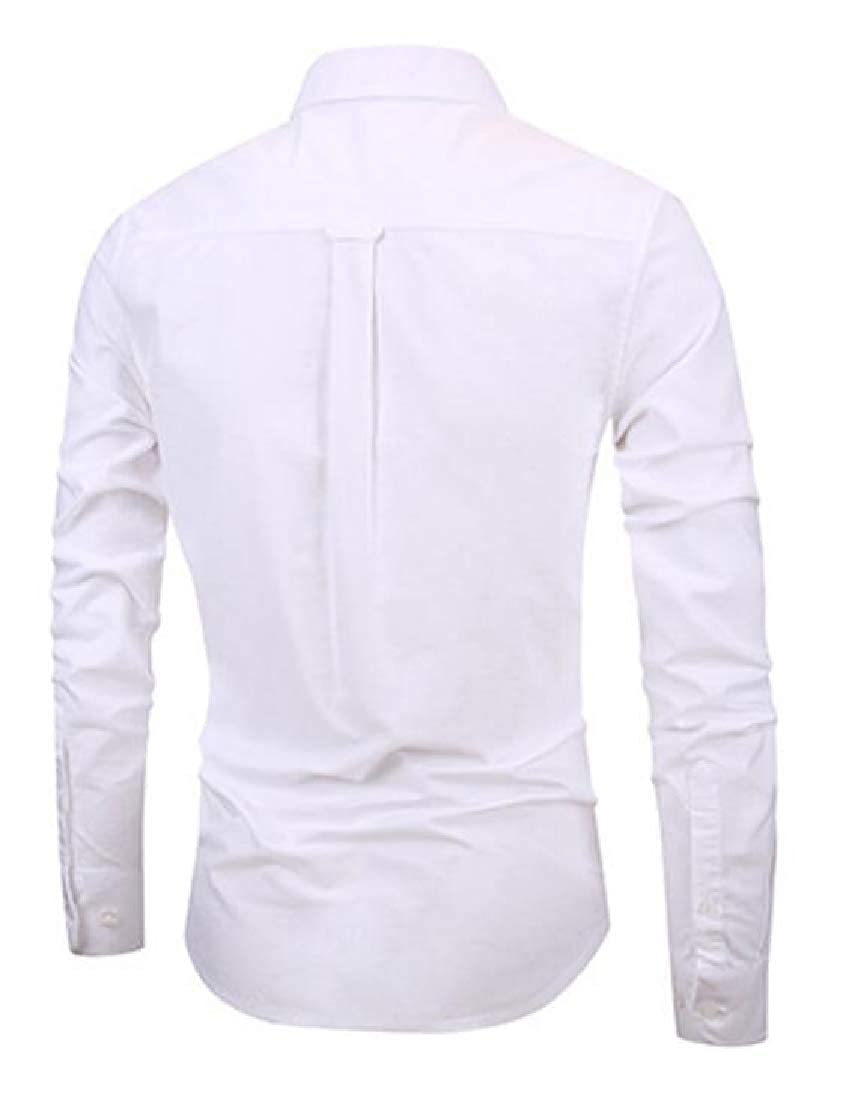 CRYYU Men Pure Color Regular Fit Cotton Business Long Sleeve Button Up Dress Shirt 1 XXS