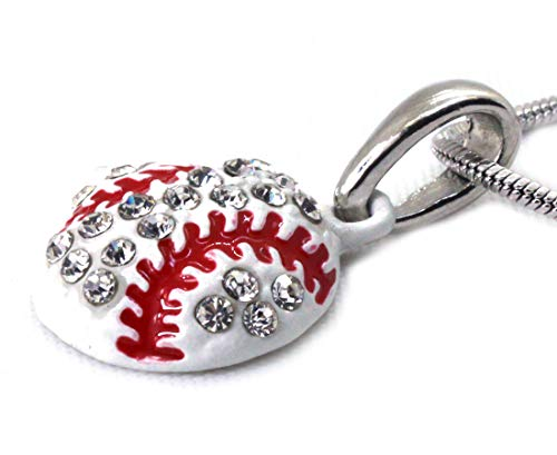 - cocojewelry Baseball Glove Sports Charm Player Pendant Necklace Fashion Jewelry (White)