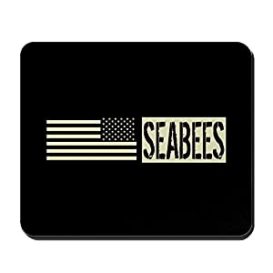 CafePress - U.S. Navy: Seabees (Black Flag) - Non-Slip Rubber Mousepad, Gaming Mouse Pad by CafePress