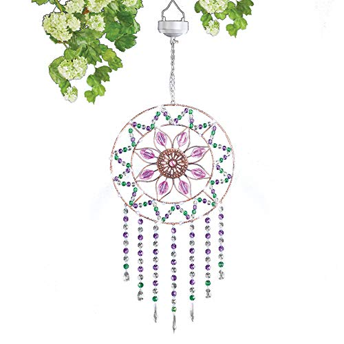(Collections Etc Solar Sparkling Flower-Shaped Hanging Suncatcher with Shiny Acrylic Beads - Includes Hanging Chain and Hook)