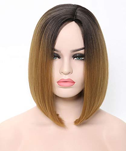 Shoulder Length Bob - Benegem 2 Tone Slight Side Part Bob Wigs 13.5 inches Shoulder Length Synthetic Party Wigs
