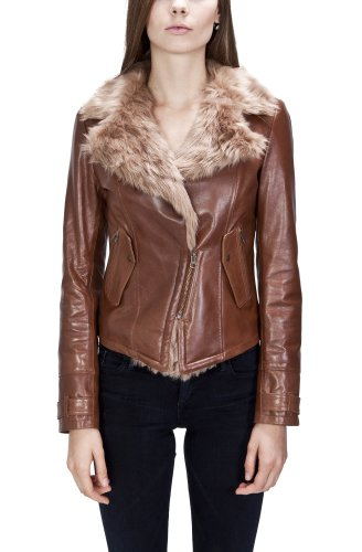 United Face Womens Fur Lined Leather Biker Jacket X-Small Brown