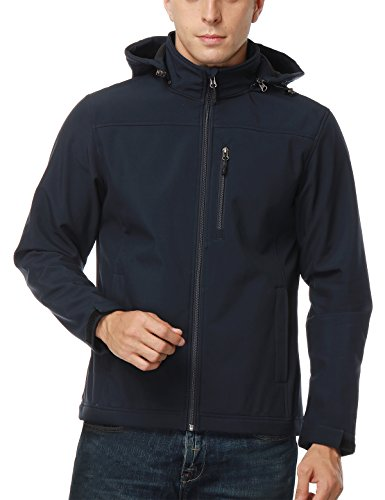 MIER Men's Softshell Jacket with Removable Hood Fleece Winter Jacket, Water/Wind Resistant, Navy Blue, XL (Soft Jacket Shell Winter)