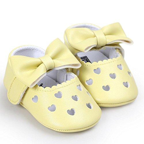 Igemy 1 Paar Baby Mädchen Hollow Out Bowknot Casual Sneaker Anti-Rutsch Weiche Schuhe Gelb