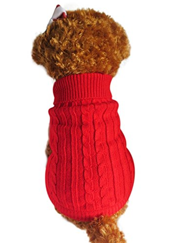 Clothe Classic Winter Cable Dog Cat Puppy Ferret Sweater Apparel Cloth Red ()