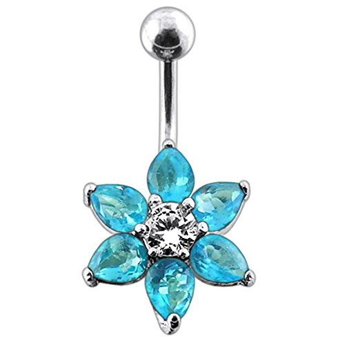 Light Blue Gemstone Fancy Flower 925 Sterling Silver with Stainless Steel Belly Button Rings - Stone Light Blue Navel Ring