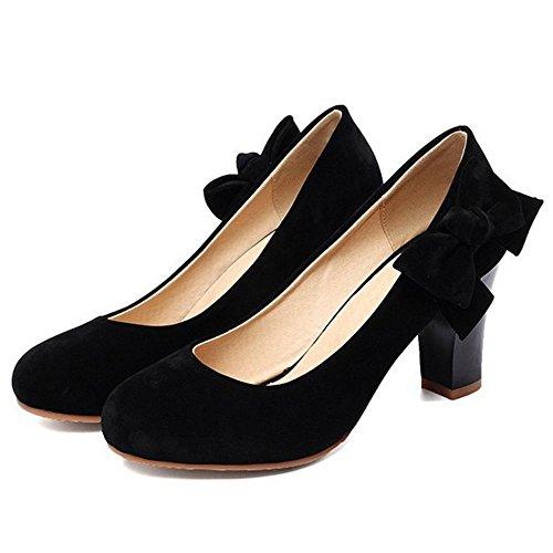 COOLCEPT Mujer Mujer Moda Tacon Alto Ancho Bombas Zapatos Nupcial Boda Zapatos con Bowknot Negro