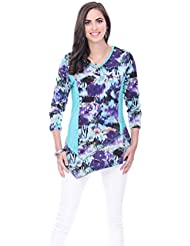 Parsley & Sage Lily, Asymmetric V-Neck Tunic 3/4 Sleeve Multicolored Pattern