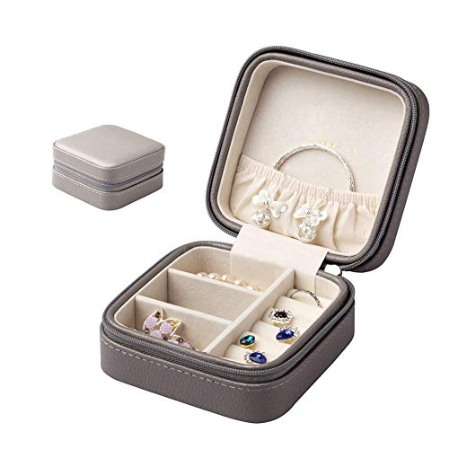 Jewellery Box Storage Removable Tray for Boxes Storage Case Storage Box Small Faux Leather Travel Organizer, Display Storage Case for Rings, Earrings, Necklaces ZHAOYONGLI (Color : Gray)