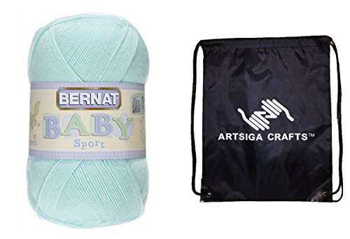 Bernat Baby Sport Big Ball Yarn Solids (1-Pack) Baby Green 163121-21230 with 1 Artsiga Crafts Project Bag