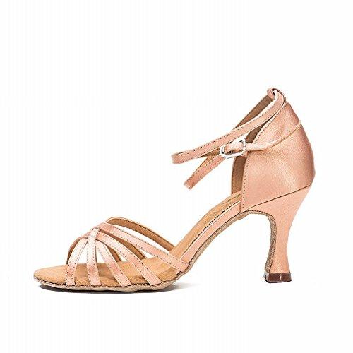BYLE Sandalias de Cuero Tobillo Modern Jazz Samba Zapatos de Baile Zapatos de Baile Latino Hembra Adulta con Cinta Nacional Zapatos de Baile Estándar 7.5CM Onecolor