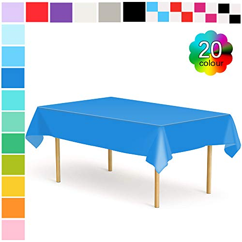 Etmury Plastic Tablecloth 6 Pack Disposable Rectangle Table Covers 54 in. x 108 in. for 6 to 8 Foot Tables Indoor or Outdoor Parties Birthdays Weddings -