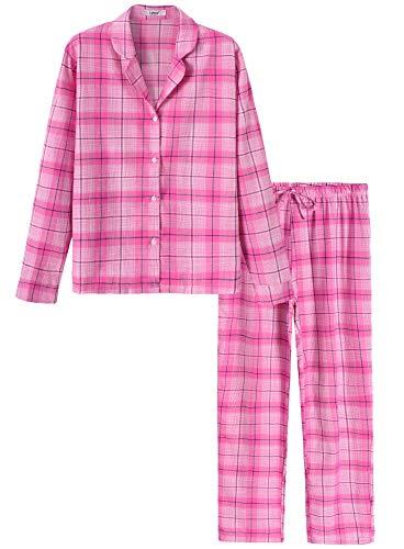 (Latuza Women's Flannel Cotton Sleepwear Plaid Pajamas Set M Rose)