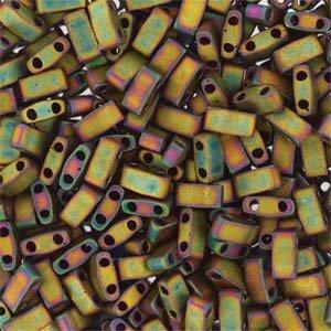 Miyuki Tila 5mm Half Cut Matte Metallic Khaki - Khaki Half