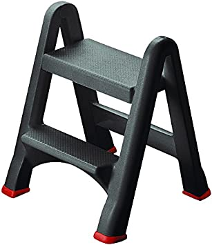 Curver - Taburete Escalera Plegable con 2 Peldaños - Color Antracita: Amazon.es: Hogar