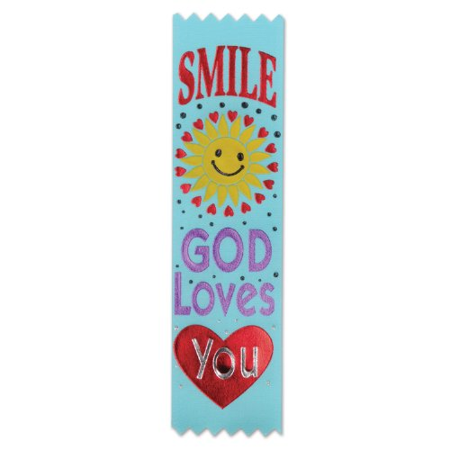 Beistle VP801 Smile, God Loves You Value Ribbons, 11/2 by 61/4-Inch, 30-Pack]()