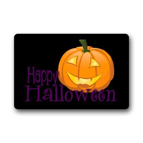 Keke's Home Happy Halloween Funny Jack-O-Lantern Art, Polyester Front Door Mat Welcome Doormat for Home, Indoor, Entrance, Kitchen, Patio, Entry, -