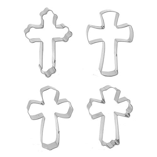 Cross Cookie Cutters (4 Pieces Holy Cross Shaped Cookie Cutter Fondant Decoration Ideas Christian Cookie Cutters Set Halloween Baking)