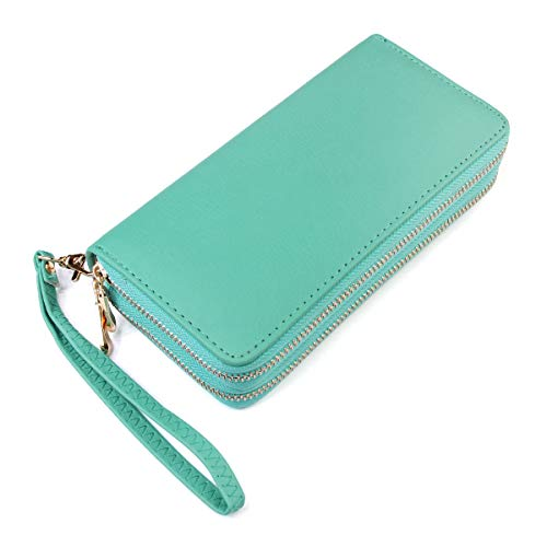 Classic Zip Around Wallet - PU Leather Double Zipper Clutch Purse with Card & Phone Slots, Removable Wristlet Strap (Dark ()