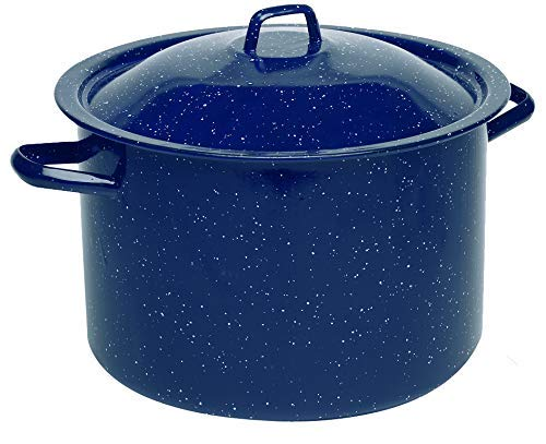 IMUSA USA C20666-10646W 12-Quart Blue Speckled Enamel Stock Pot with Lid