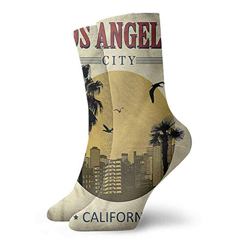 - Socks Comfort Free Shopping USA,Vintage LA City California Tree 3.4