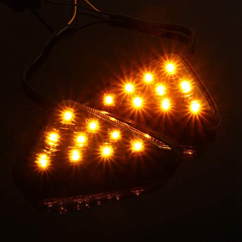 (Leyeet 2X Motorcycle 12V Euro Triangle Flush Mount Turn Signal Smoke Amber LED Light AP (Color : Black))
