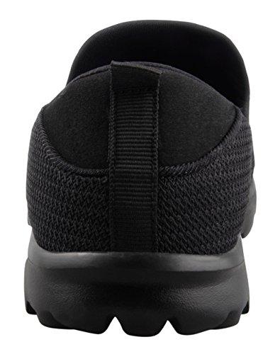 T & Mates Mens Léger Respirant Slip-on Bas Bout Rond Confortable Confort Chaussures De Marche Noir