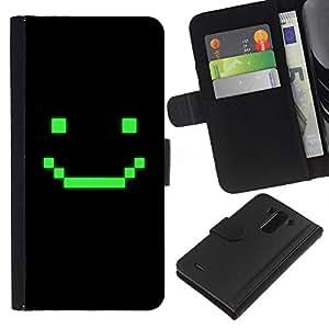 WINCASE Cuadro Funda Voltear Cuero Ranura Tarjetas TPU Carcasas Protectora Cover Case Para LG G3 - juego de ordenador arte sonriente emoticono