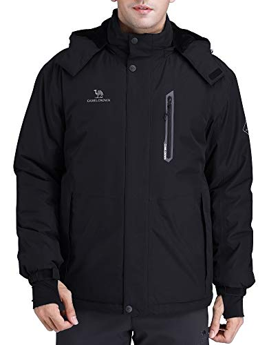 CAMEL CROWN Men's Mountain Snow Waterproof Ski Jacket Detachable Hood Windproof Fleece Parka Rain Jacket Winter Coat Black L