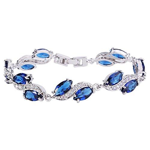 EleQueen Womens Silver-tone Full Cubic Zirconia Marquise Leaf Roman Tennis Bracelet Sapphire Color