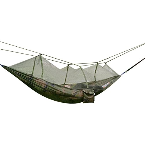 Camping Hammock, Topist Mosquito Net Hammock Bed Widened Parachute Fabric Double Hammock, Ultralight & Quality Comfort for Camping, Hiking, Travel, Outdoors and Backpacking (Camouflage Color)