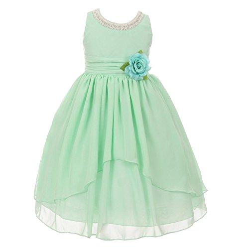 KiKi Kids USA Big Girls Mint Hi-Low Detail Beaded Trim Chiffon Junior Bridesmaid Dress 14 from Kiki Kids