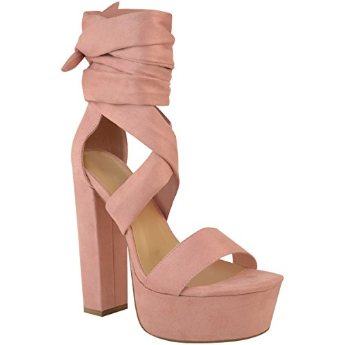 Fashion Thirsty Womens Lace up High Block Heels Platforms Sandals Ankle Tie Party Shoes Size 6 ()
